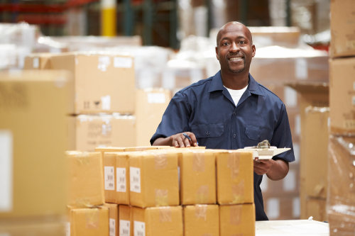 Warehouse worker managing safety stock