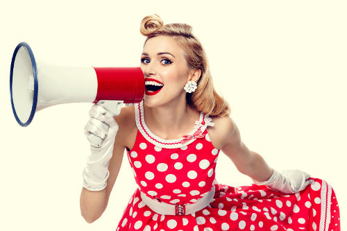 Online marketing lady with megaphone