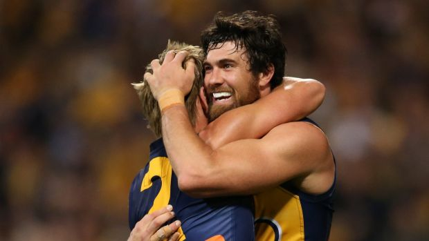 Josh Kennedy and Mark LeCras enjoy that winning feeling on Saturday.