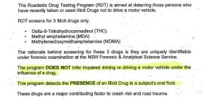 Excerpt of the NSW Police Standard Operating Procedures for the roadside drug testing program, provided under freedom of information laws.