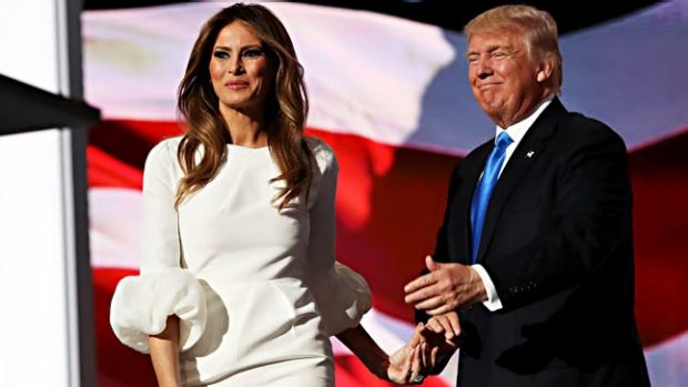 Presumptive Republican presidential nominee Donald Trump introduces his wife Melania on the first day of the Republican ...