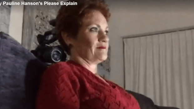 Please explain? Pauline Hanson streams video of herself watching a documentary on herself.
