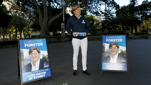 Christine Forster, a Liberal councillor in the City of Sydney and sister of former prime minister Tony Abbott, campaigns ...