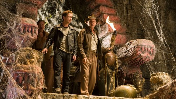 "LaBeouf, left, and Harrison Ford as Indiana Jones in a scene from ""Indiana Jones and the Kingdom of the Crystal Skull""."