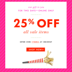 25% Off All Sale Items Kate Spade email