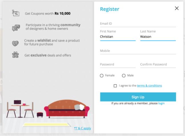 Pepperfry desktop website signup form