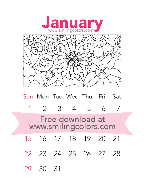 Printable Coloring Calendar 2017 Free : Printable coloring calendar 2017: january smitha katti