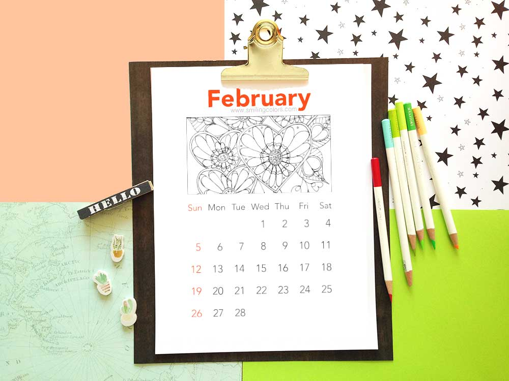 Free coloring calendars to print: February 2017 - Smitha Katti