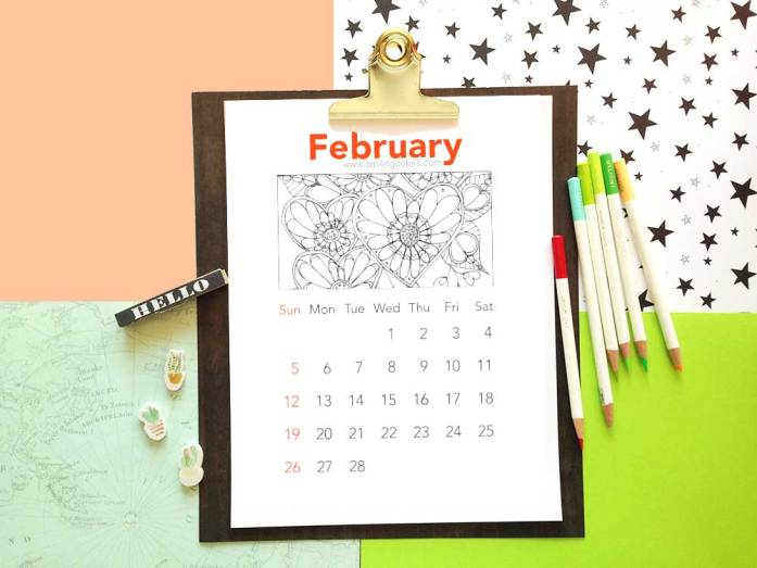 Free coloring calendars to print