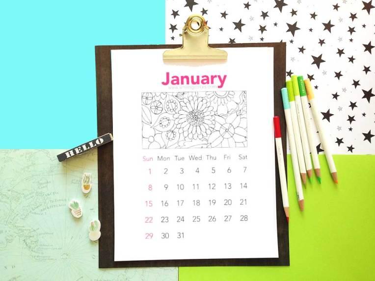 Printable coloring calendar 2017