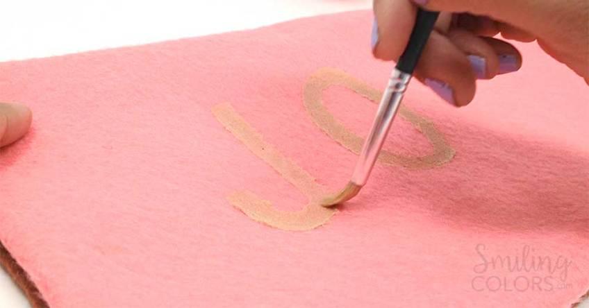 hand lettering on felt