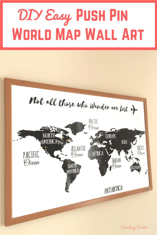 DIY Easy Push Pin World Map Wall Art