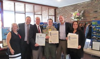 Eagle Scout Court of Honor are from left: Nancy and John Esposito, parents of the Eagle Scout, Suffolk County Comptroller John Kennedy, Eagle Scout Jack Esposito, and Suffolk County Legislators Robert Trotta and Leslie Kennedy.