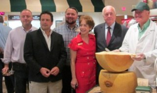 from left to right are: Suffolk County Legislator Rob Trotta, Mark Mancini, president of the Greater Smithtown Chamber of Commerce, Bruce Molfetto, store manager, Barbara Franco, executive director of the Chamber; Smithtown Councilman Robert Creighton, and the Cheese Expert