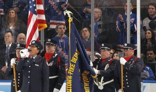 NY rangers at Madison square garden color guard