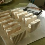 Creamy Goat Milk Soap, sliced and curing