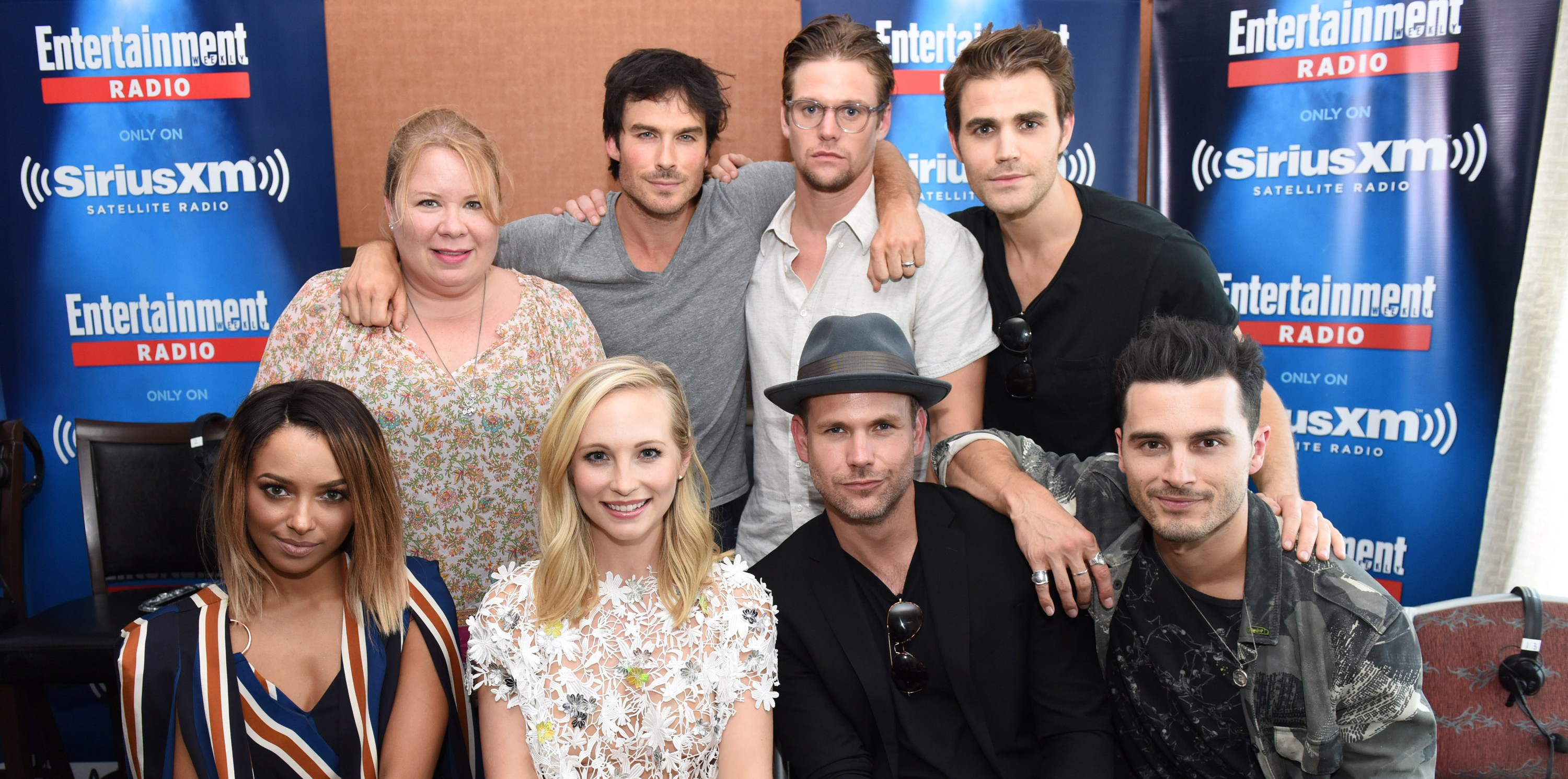 SAN DIEGO, CA - JULY 23:  Writer and producer Julie Plec and actors Ian Somerhalder, Zach Roerig, Paul Wesley, Kat Graham, Candice King, Matt Davis and Michael Malarkey attend SiriusXM's Entertainment Weekly Radio Channel Broadcasts From Comic-Con 2016 at Hard Rock Hotel San Diego on July 22, 2016 in San Diego, California.  (Photo by Vivien Killilea/Getty Images for SiriusXM)