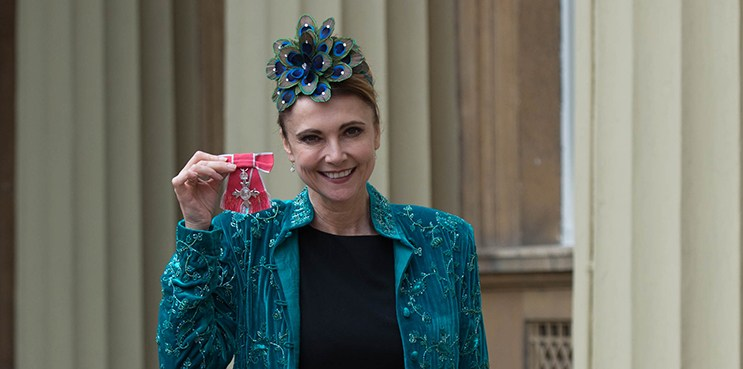 LONDON, UNITED KINGDOM - OCTOBER 25:Actress Emma Samms after receiving her Member of the Order of the British Empire (MBE) at Buckingham Palace on October 25, 2016 in London, England. (Photo by Stefan Rousseau - WPA Pool/Getty Images)