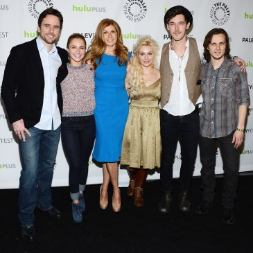 "BEVERLY HILLS, CA - MARCH 09:  (L-R) Actors Charles Esten, Hayden Panettiere, Connie Britton, Clare Bowen, Sam Palladio and Jonathan Jackson arrive at the 30th Annual PaleyFest: The William S. Paley Television Festival featuring ""Nashville"" at the Saban Theatre on March 9, 2013 in Beverly Hills, California.  (Photo by Amanda Edwards/WireImage)"