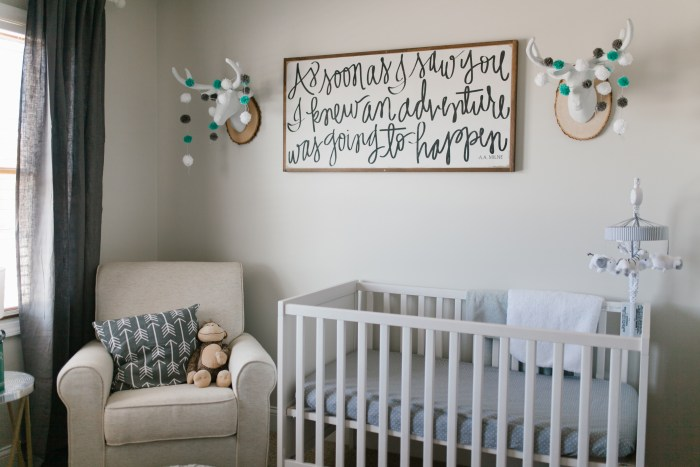 Caleb's Rustic Neutral Nursery Reveal With White, Gray, and Wood Accents Faux Deer Heads With Pom Pom Garland