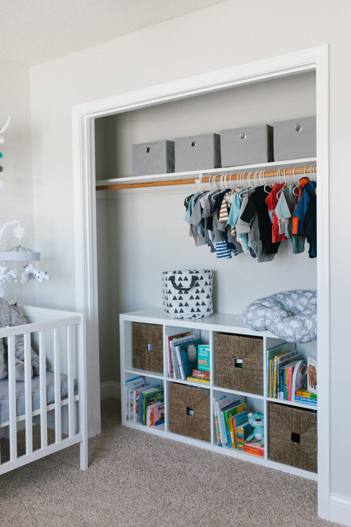 Caleb's Rustic Neutral Nursery Reveal With White, Gray, and Wood Accents and Ikea Kallax Organizer in Closet Vertical