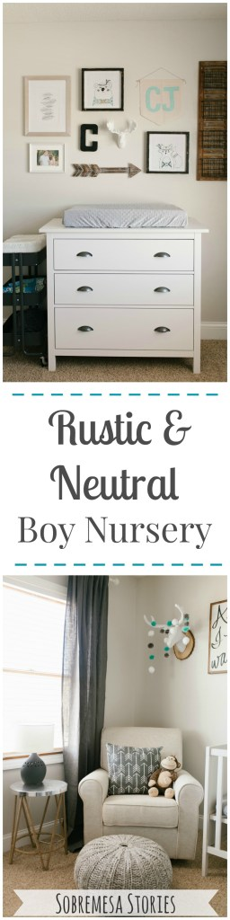 Gorgeous rustic neutral boy nursery with pops of white, gray, blue, and wood accents. So many pretty pictures!