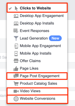 facebook video ad campaign objectives