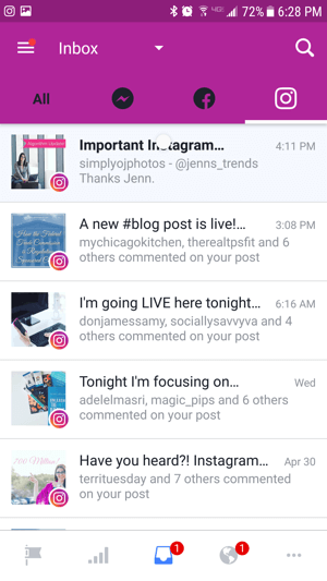 Tap the Instagram tab in your Facebook inbox to see the most recent comments on your Instagram posts.