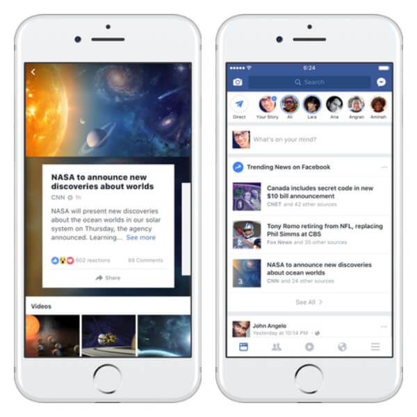 Facebook redesigned the Trending result page on iPhone and is testing a new way to make it easier for users to find a list of trending topics within the News Feed.