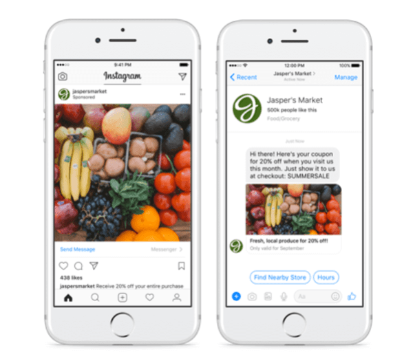 Facebook expands click to Messenger ads to Instagram.