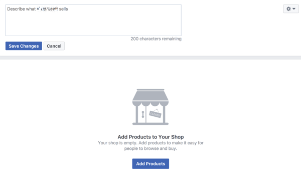 Describe your products on your Facebook storefront to help increase sales.
