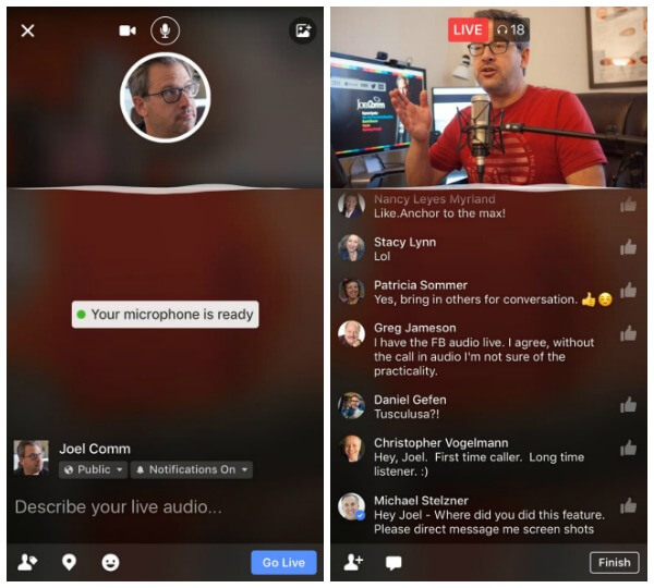 Facebook is rolling out Live Audio to more publishers and individuals.