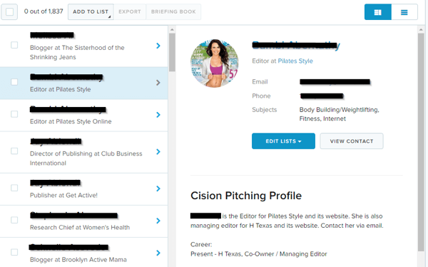 This is a sample profile from Cision.