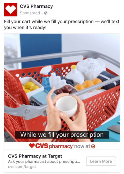 When CVS launched a new partnership with Target, the pharmacy created a Facebook ad to increase brand awareness.