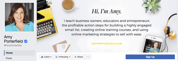 Amy Porterfield has a business page that features a professional profile photo and a cover page that highlights the products and services her business offers.