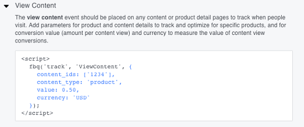 This is an advanced View Content event code.