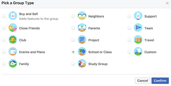 Choose a group type that reflects how you want to be categorized in search.