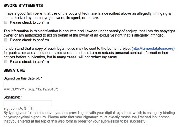 Google's takedown notice is still a legal document with signatures and sworn statements of ownership.