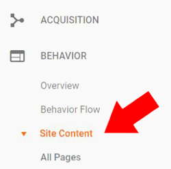 Under Behavior in Google Analytics, choose Site Content  data-recalc-dims=