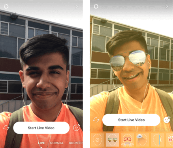 Instagram adds face filters to live video.