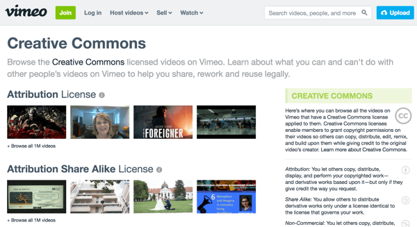 Vimeo groups video footage by license type and includes explanations of each type on the right.
