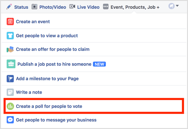 Facebook create a poll for people to vote