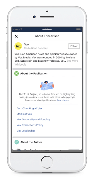 Facebook will begin displaying new publisher Trust Indicators for articles shared in the News Feed.