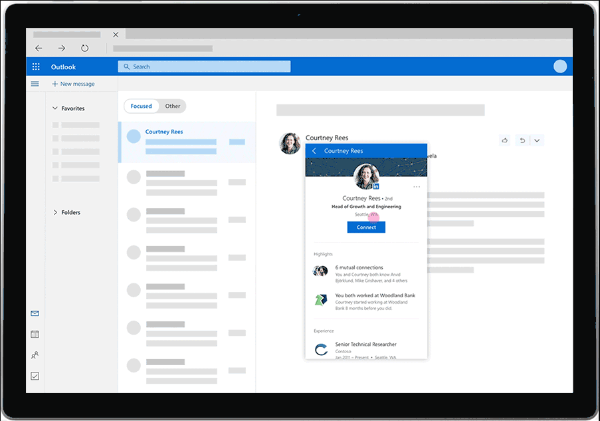 LinkedIn will now provide rich insights such as profile pictures, work history, and more from right from within Outlook.com user's personal inbox.