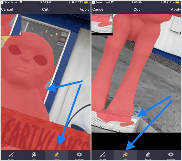 pixomatic app blurred background erase outline