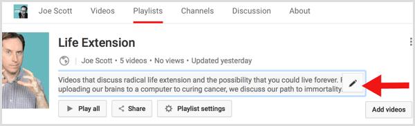 YouTube edit playlist description