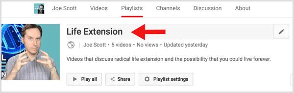 YouTube edit playlist title