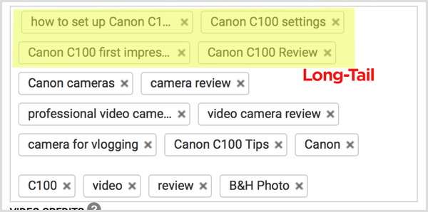 YouTube video tags long-tail keywords