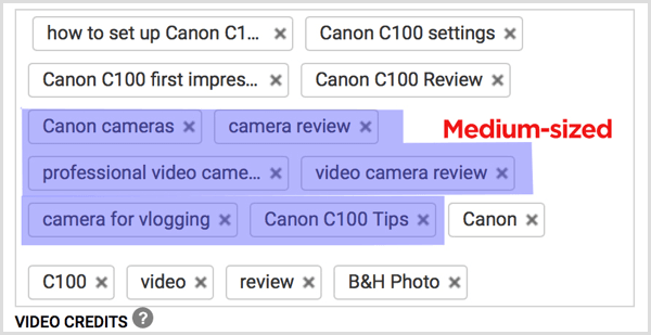YouTube video tags medium-sized keywords