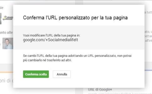 Richiedi URL personalizzato Pagina Google Plus